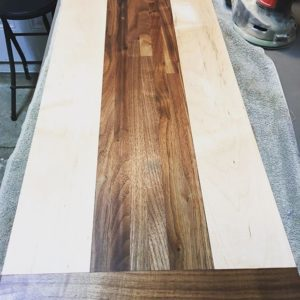 Laminated walnut and maple cutting board
