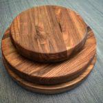 Turned laminated walnut cutting boards