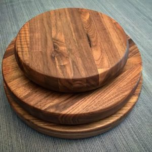 Turned laminated walnut cutting boards